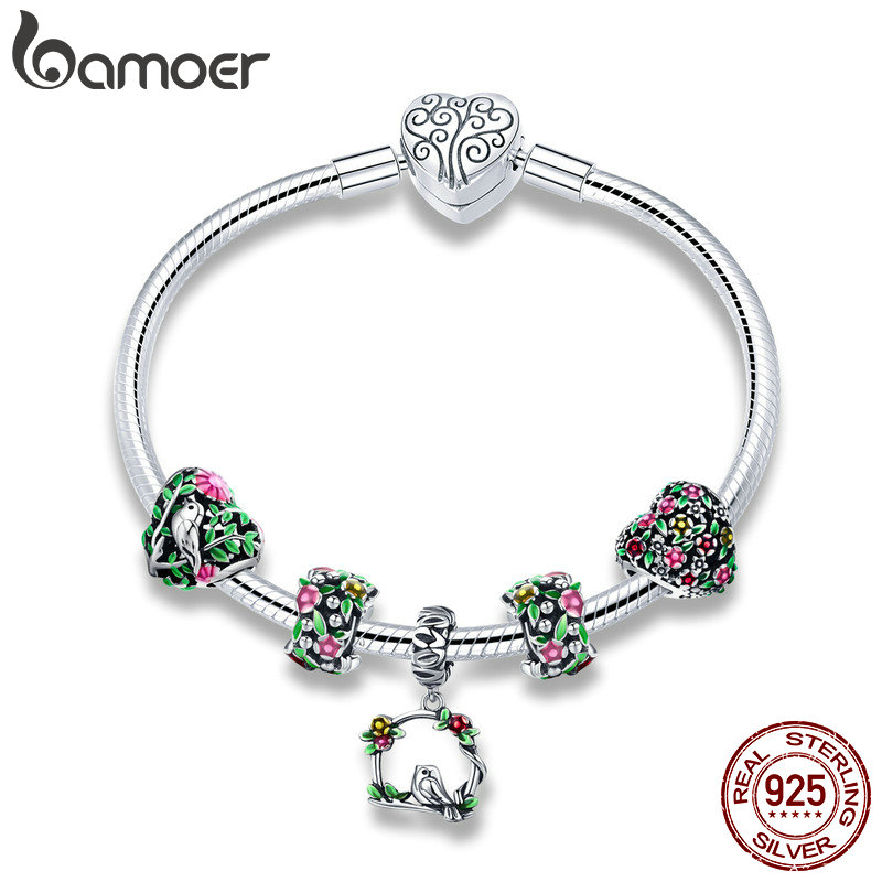 BAMOER Real 925 Sterling Silver Spring Flower Colorful Enamel Charm Bracelets & Bangles for Women Sterling Silver Jewelry SCB804