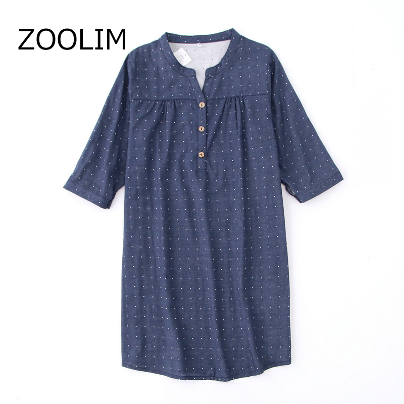 ZOOLIM Spring Autumn Loose Breathable Thin Nightdress Cotton Shirt Women Pattern Sleepwear Long Sleeve Nightgowns Sleepshirts