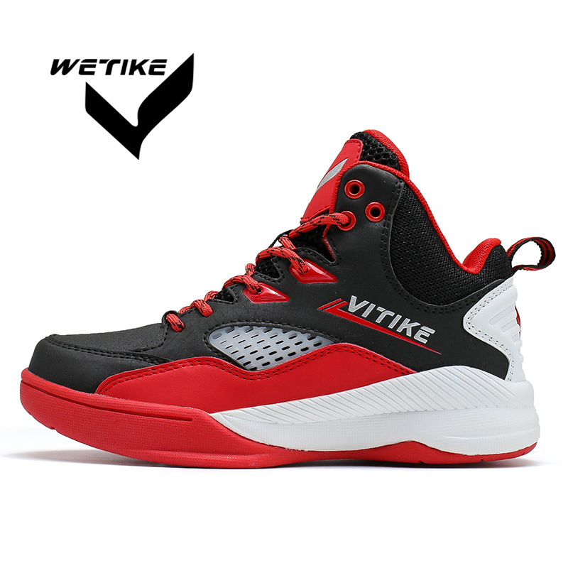 Boy's Basketball Shoes Girl's Outdoor Breathable Sports Running Flat Boots Professional High Ankle Air Cushion Shoes For Kid