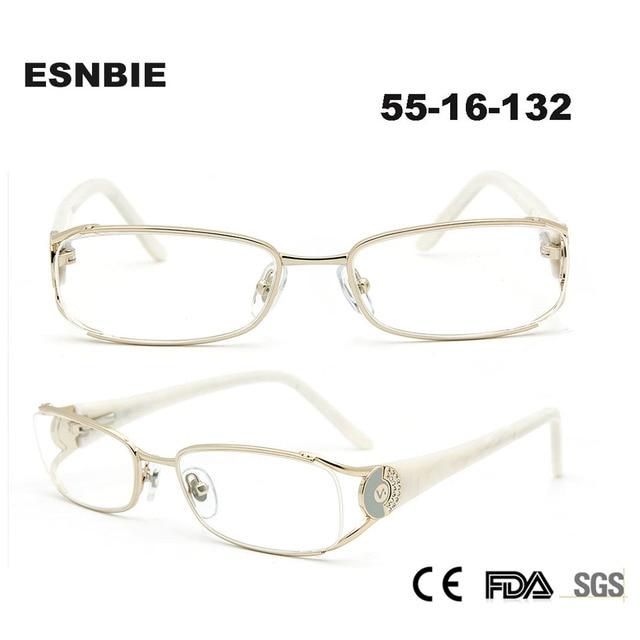 d6197e3380f1c ESNBIE Venda Quente Das Mulheres Óculos de Armação Oculos de grau Diamante  Lente De Vidro Computador
