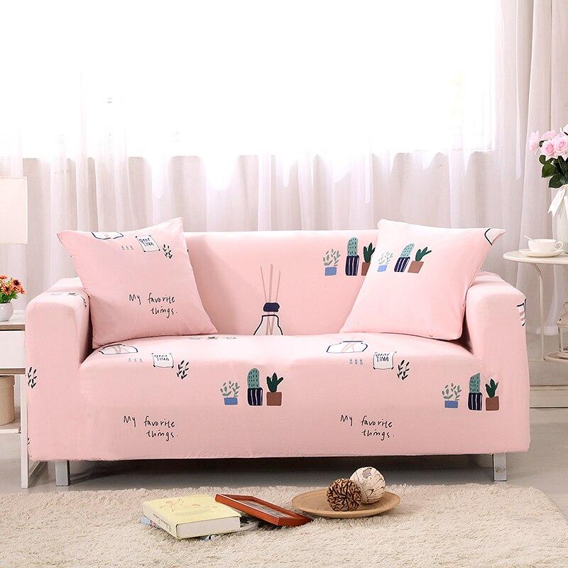 Pink Sofa Cover: Sofa Covers Elastic Spandex Cactus Printed Pink Sofa