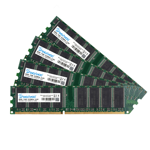 SNOAMOO DDR1 DDR 1 Гб PC2700/3200 DDR 333 МГц/400 МГц 184Pin Настольный ПК Память CL2.5 оперативная Память DIMM 1G пожизненная Гарантия 4