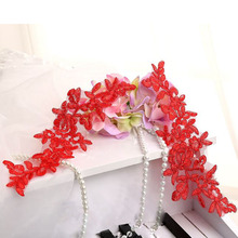 10Pcs 29x9cm Red Lace Applique Floral Embroidered Lace Trim For Sewing Wedding Dress Veil Head Accessories