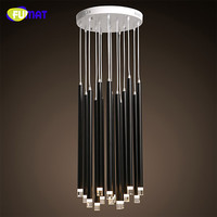 FUMAT Nordic Modern LED Ceiling Lamp For High Ceiling Light Fixtures Indoor Lighting Metal Long Cylinder