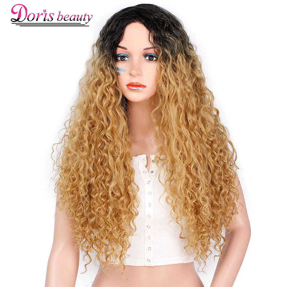Doris Beauty Ombre Blonde Long Afro Kinky Curly Wig Synthetic Wigs For Women Black Red African Hairstyle Natural Heat Resistant