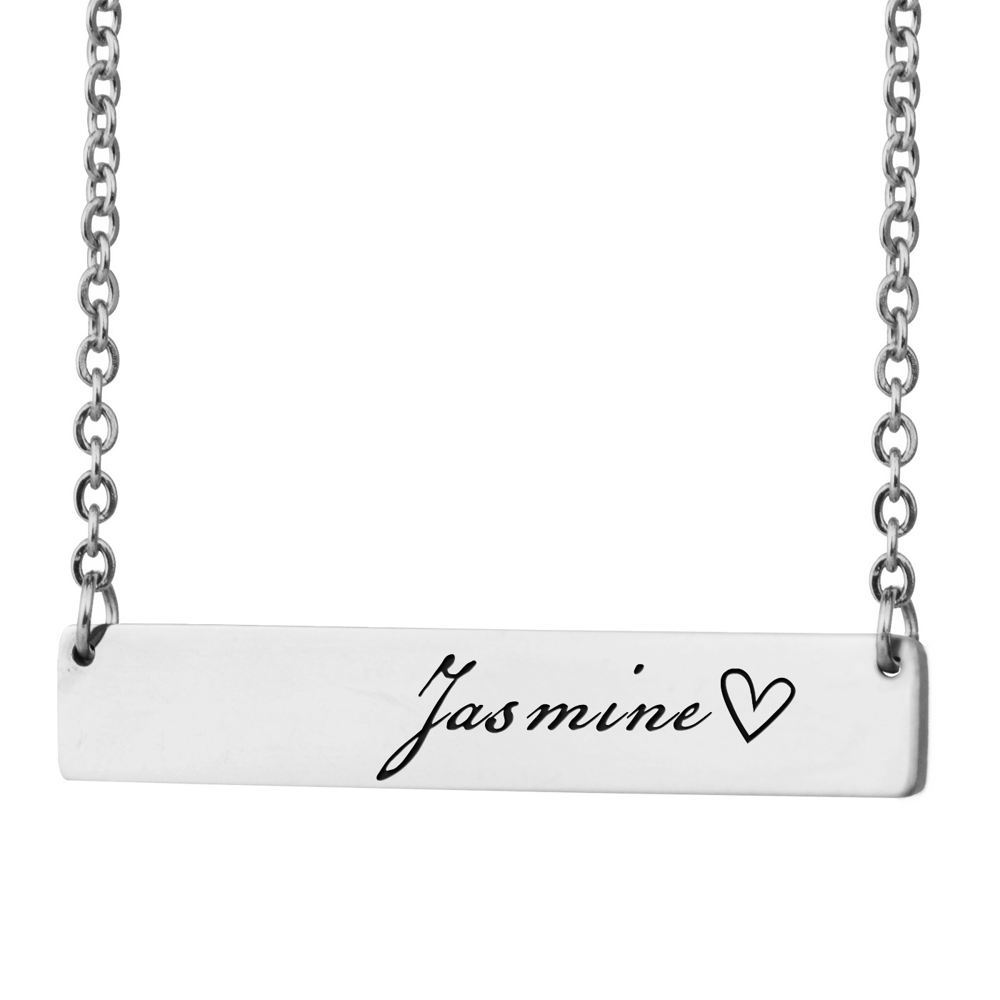 Nameplate Bar Necklace Engrave Custom Coordinates Necklace For Women Stainless Steel Personalized Name Words Five Letter Words With Steeld