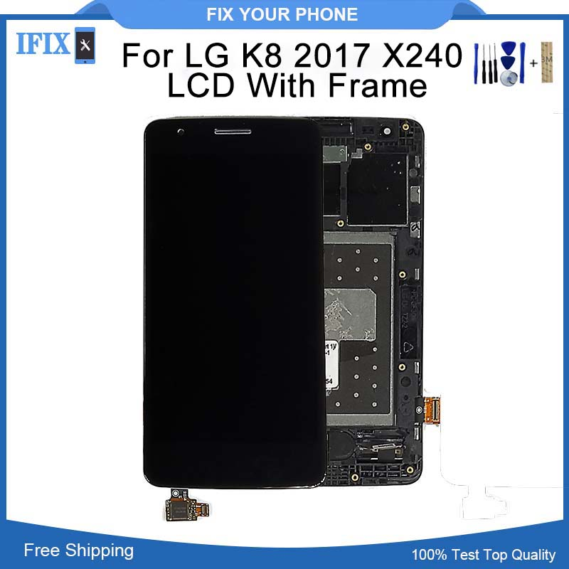 5.0 For LG K8 2017 Display X240 LCD with Frame Touch Screen Mobile Phone Lcds Digitizer Assemble Repair Parts With Free Tools
