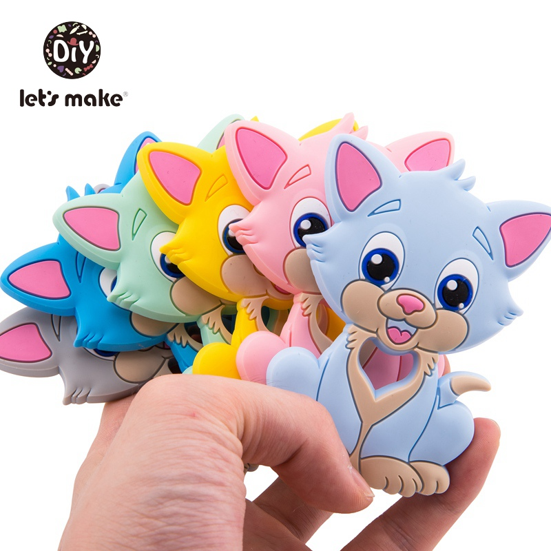 Let's Make 5pc Silicone Teether Bpa Free Silicone Cat Shape Cartoon Food Grade Baby Teething Toy For Teeth NursingBaby Teethers