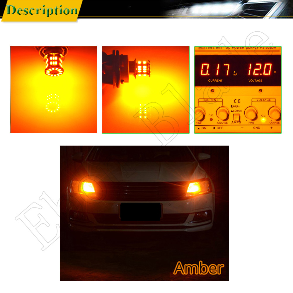 Image 5 - 2Pcs Daytime Running Light S25 1156 BA15S P21W 3014 36 SMD Auto LED Amber Orange Yellow Turn Signal Bulb Lamp Car Styling 12V DC-in Signal Lamp from Automobiles & Motorcycles