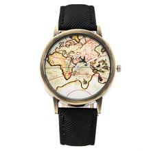 Reloj de manera Mujeres Plane Mapa Del Mundo Reloj de Pulsera Banda de Tela de Mezclilla Hombres Reloj de Cuarzo Ocasional Reloj Deportivo Relogios Reloj Relojs 1968