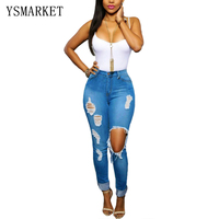 Women Blue Skinny Pencil Pants Ripped Butt Lifting Skinny Jeans Cheap brazilian butt lift jeans Ripped jeans E558