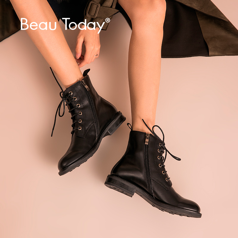 BeauToday Ankle Boots Women Calfskin Cross-Tied Side Zipper Top Brand Genuine Leather Fashion Lady Shoes Handmade 03098