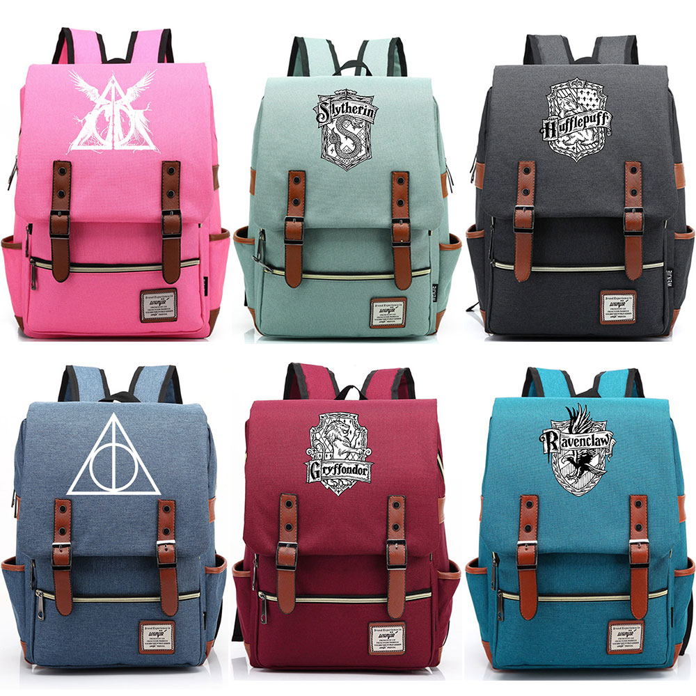 2019 Deathly Hallows Slytherin Gryffindor Hufflepuff Boy Girl Student School bag Teenagers  Canvas Women Bagpack Men Backpack2019 Deathly Hallows Slytherin Gryffindor Hufflepuff Boy Girl Student School bag Teenagers  Canvas Women Bagpack Men Backpack