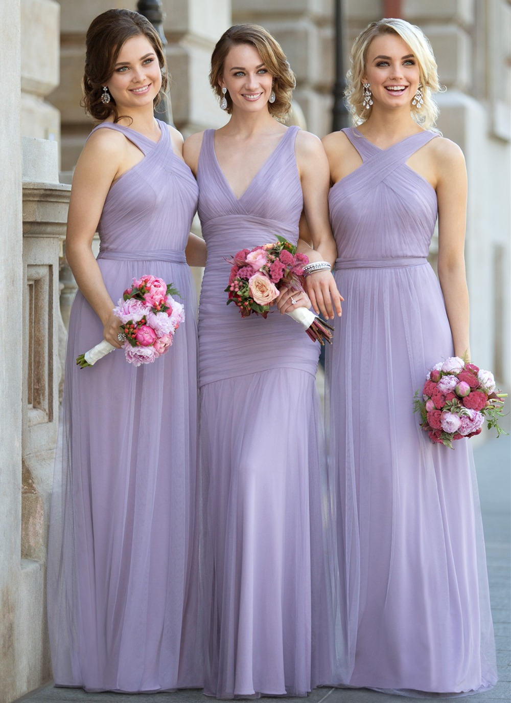 Online get cheap lavender bridesmaid tulle gown aliexpress lavender bohemian bridesmaid dress 2017 cross neck floor length new design formal party gownschina ombrellifo Choice Image