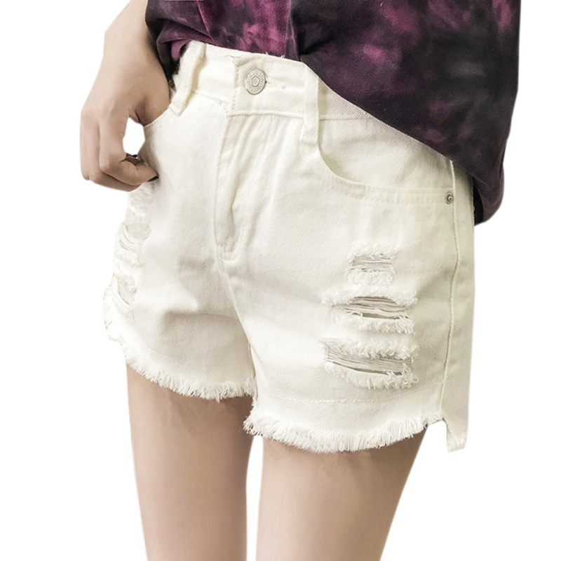 Hot White Black Solid Woman Color Denim Shorts 2018 Ripped New Fashion Women Girls Casual Pockets Zipper Female Short Jeans 2XL