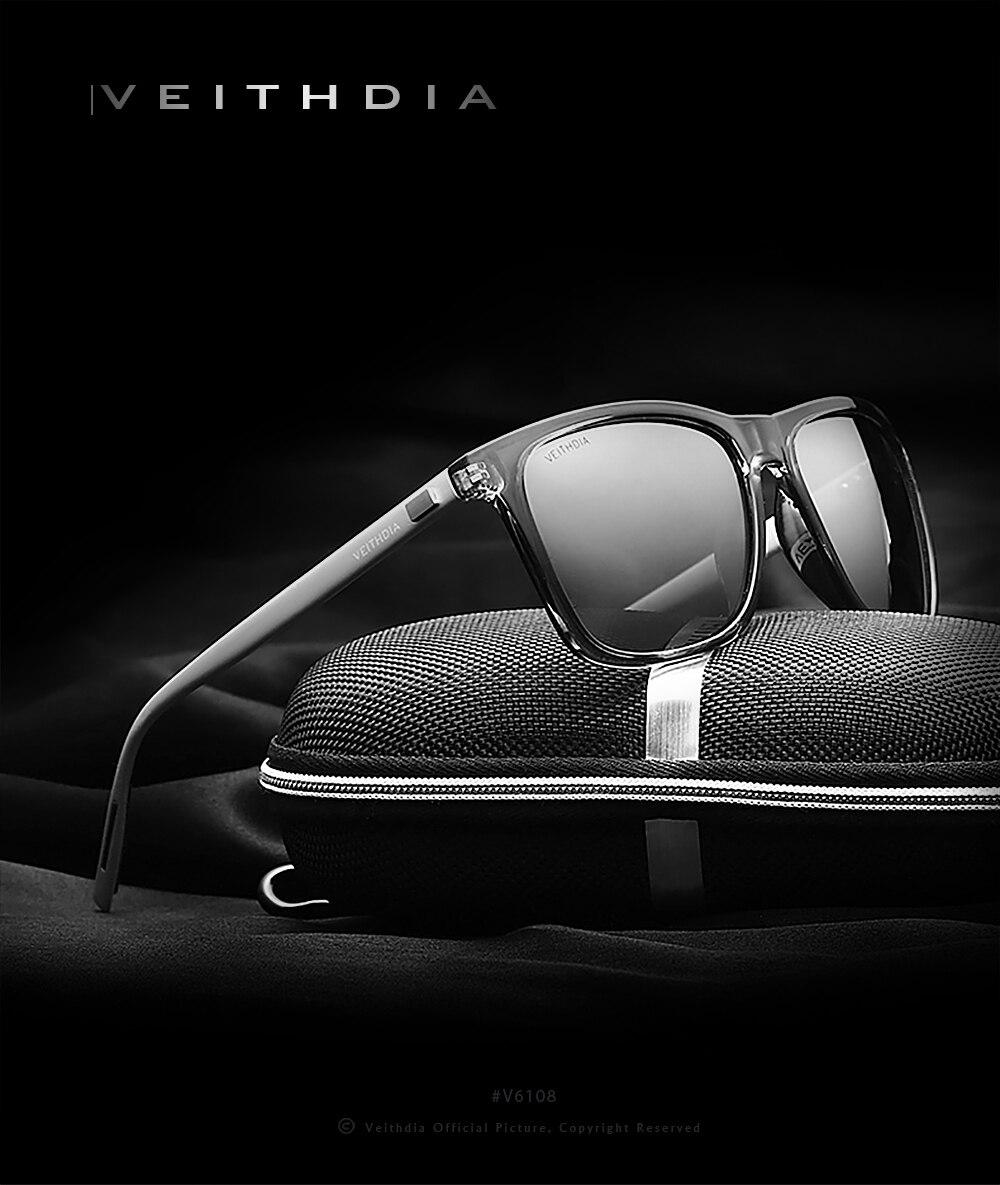 Мужские и женские солнцезащитные очки VEITHDIA, поляризованные солнцезащитные очки № 6108 из алюминия