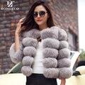 Nova Chegada 2016 Mulheres Da Moda Casaco De Pele de Alta Qualidade Do Falso Fox Fur Patchwork Curto Feminino Casaco de Inverno Casaco Quente Parka PC148