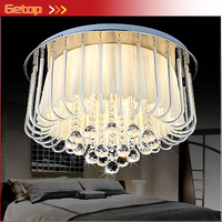 ZX Modern LED Crystal Ceiling Lights Round Living Room Crystal Ceiling Lamp Fixture Romantic Bedroom Indoor