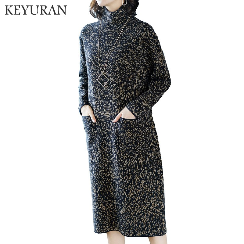 Plus size Elegant Jacquard turtleneck knitted women sweater dress pocket ladies dress 2018 loose autumn winter dresses vestidos