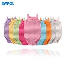 DANROL/Летние Боди для маленьких девочек; хлопковые однотонные боди для девочек; нижнее белье без рукавов для новорожденных; мягкий боди для младенцев; 9 цветов
