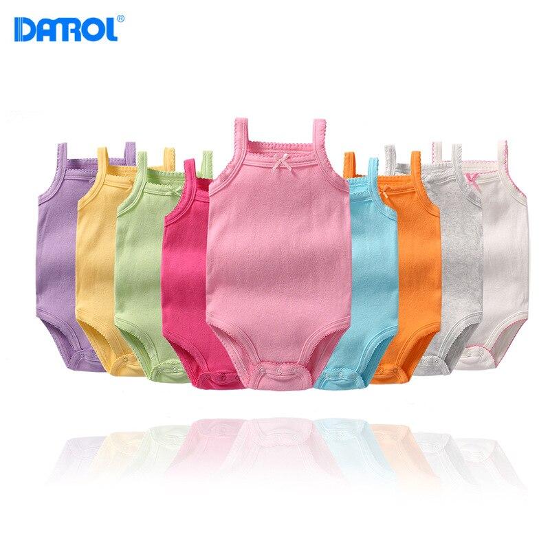 DANROL Summer Baby Girls Bodysuits Girls Cotton Solid Color Bodysuits Newborn Sleeveless Underwear Infant Soft Bodysuit 9 Colors