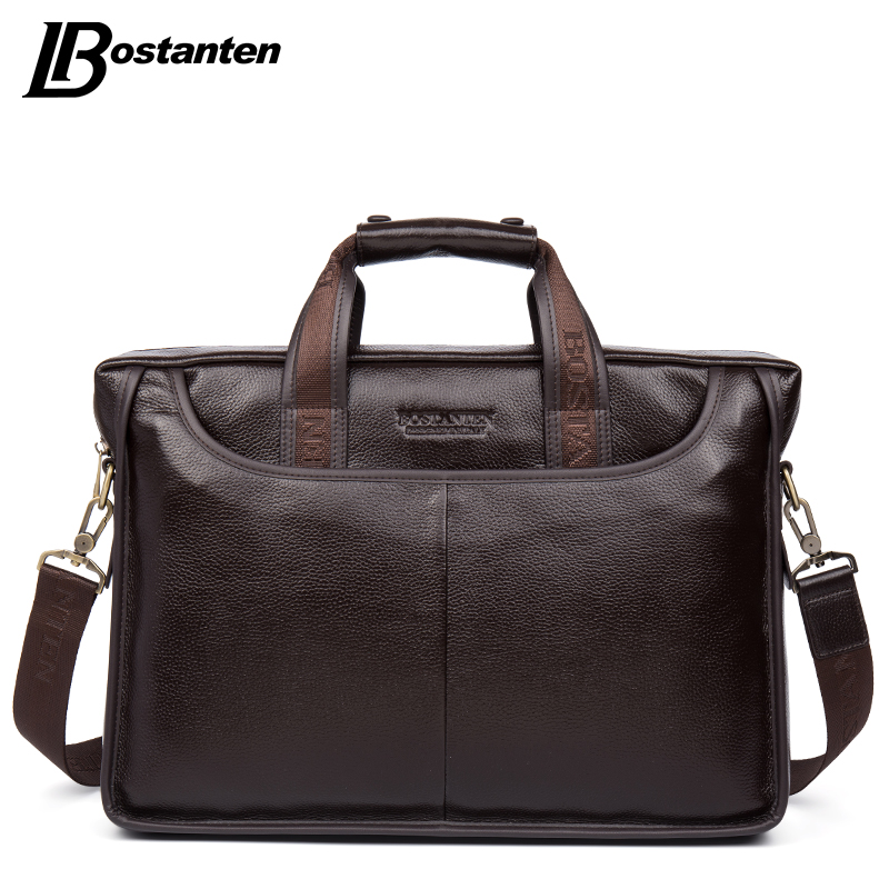 Bostanten 2019 New Fashion Genuine Leather Men Bag Famous Brand Shoulder Bag Messenger Bags Causal Handbag Laptop Briefcase Male-in Briefcases from Luggage & Bags