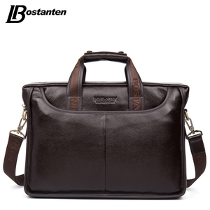 Image 1 - Bostanten 2019 New Fashion Genuine Leather Men Bag Famous Brand Shoulder Bag Messenger Bags Causal Handbag Laptop Briefcase Male