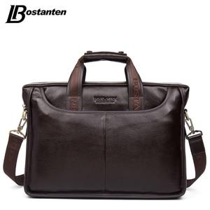Image 1 - Bostanten 2019 nouvelle mode en cuir véritable hommes sac célèbre marque sac à bandoulière Messenger sacs casual sac à main sacoche pour ordinateur portable homme