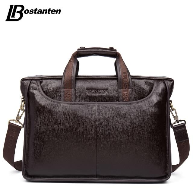 Bostanten 2019 nouvelle mode en cuir véritable hommes sac célèbre marque sac à bandoulière Messenger sacs casual sac à main sacoche pour ordinateur portable homme