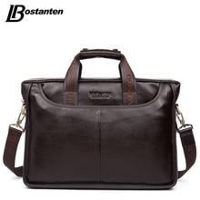 Bostanten 2019 nova moda genuína bolsa de couro dos homens famosa marca ombro saco do mensageiro sacos causal bolsa portátil maleta masculino