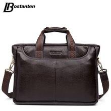 Bostanten 2019 ใหม่แฟชั่นกระเป๋าหนังแท้กระเป๋าสะพายยี่ห้อที่มีชื่อเสียงกระเป๋า Causal แล็ปท็อปกระเป๋าถือชาย