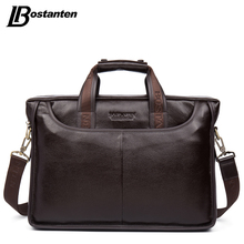 Bostanten 2017 New Style Real Leather-based Males Bag Well-known Model Shoulder Bag Messenger Luggage Causal Purse Laptop computer Briefcase Male