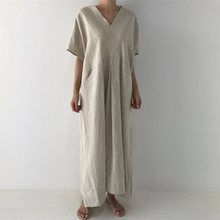 Korean Style Casual Elegant Vintage Black Women Long Dresses Pocket Plain Travel Beach Office Ladies Retro Female Maxi Dress