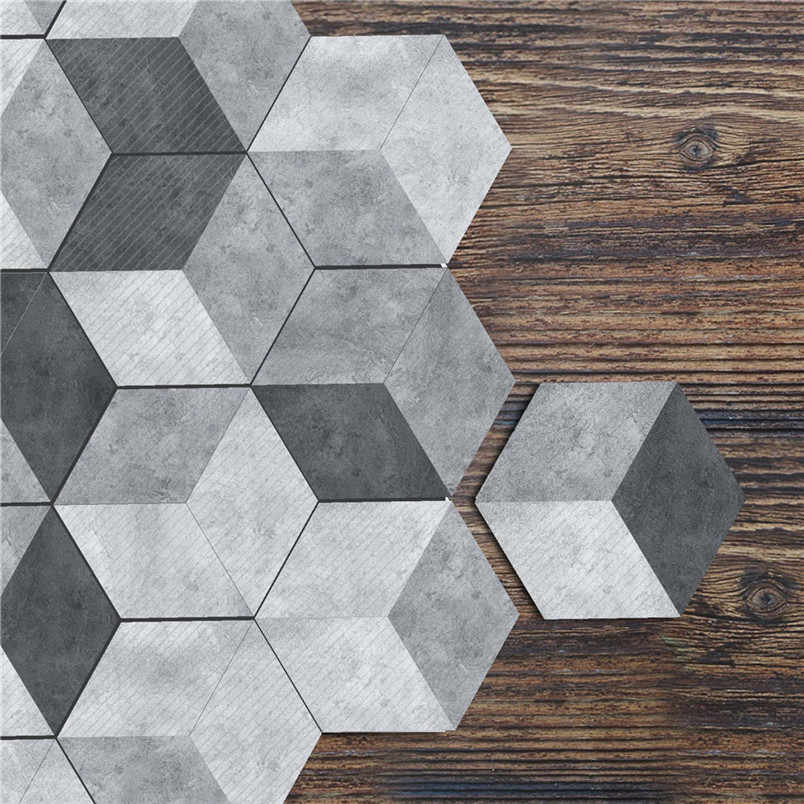 10Pcs Oil Proof Wall Tiles PVC Hexagonal Floor Stickers For Kitchen Bathroom Living Room DIY Wallpaper Home Decor 8S07