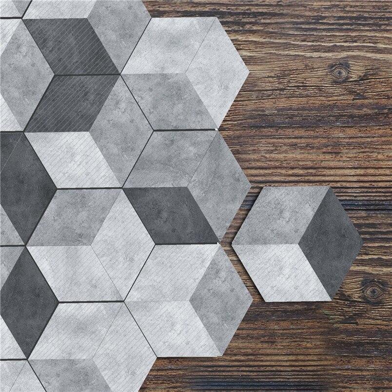 10pcs Oil Proof Wall Tiles Pvc Hexagonal Floor Stickers
