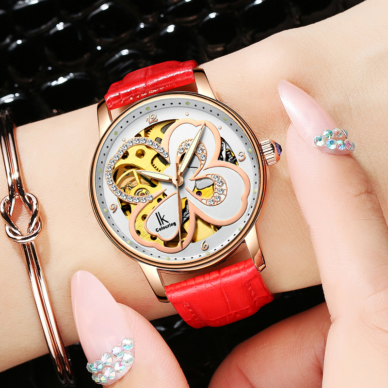 IK Female White Rose Gold Automatic butte Self-Wind Mechanical Watches Women Genuine Leather Strap Skeleton Watch Fashion Ladies mechanical watch automatic self wind skeleton female ladies wristwatch brand leather strap 2017 new fashion woman stylish lz309