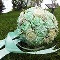 2016 Em Stock Dama de honra de Casamento Romântico Rosa Pérolas Artificiais Bouquets De Casamento Flores Bouquets de Noiva Feito À Mão