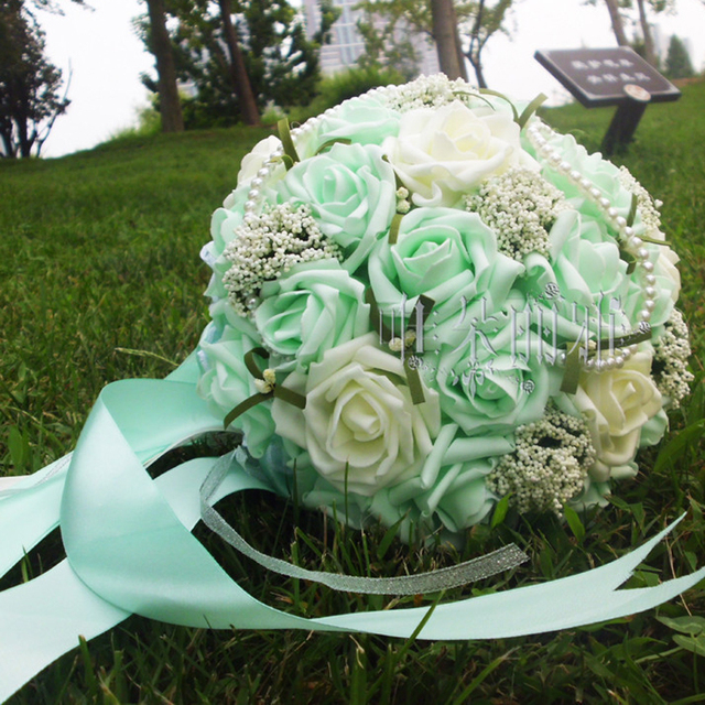 2016 In Stock Romantic Wedding Bridesmaid Rose Pearls Artificial Flowers Bridal Bouquets Handmade Wedding Bouquets
