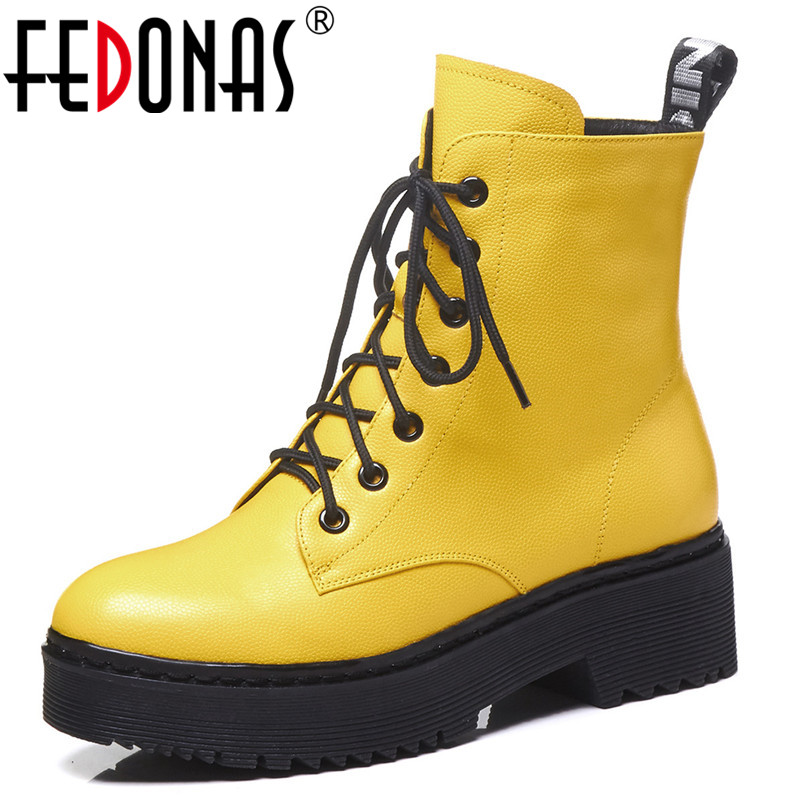 FEDONAS New Women Cow Leather High Heels Autumn Winter Martin Shoes Woman Round Toe Lace Up Motorcycle Boots Short Basic Boots new fashion black pu leather lace up martin boot woman round toe riding boots designer chain motorcycle short booty
