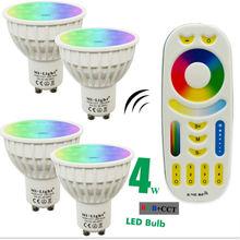 4W Mi Light LED Bulb Lamp Light Dimmable GU10 220V 85-265V RGB CCT Spotlight Indoor Decoration + 2.4G RF LED Remote Control