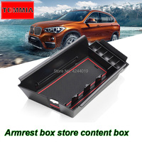 TOMMIA High Quality Plastic Central slot Armrest organizer handrails box storage Box For BMW X1 16 18 car styling