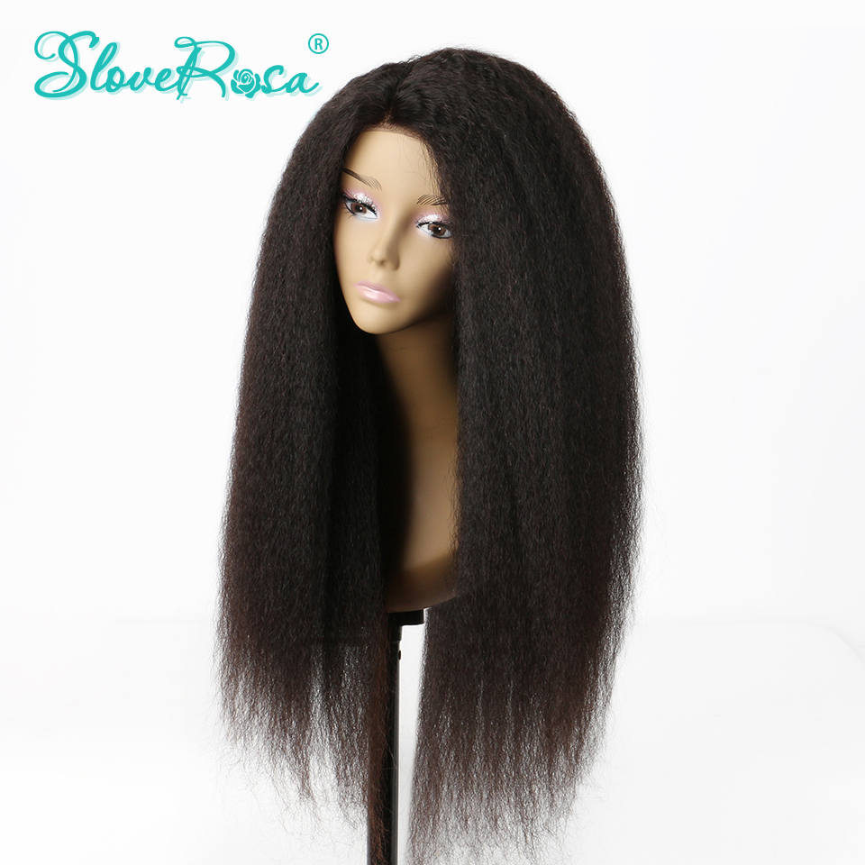 Kinky Straight Glueless Full Lace Human Hair Wig For Women Brazilian Remy Human Hair Pre Plucked