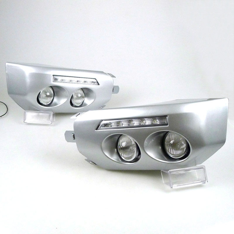 Fit For Toyota FJ Cruiser 2007 2014 2PCS silvery Front Bumper Fog Lamp DRL