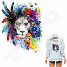 10pcs/lot Flower Lions Patches 20*25cm Iron On For Clothing A-level Washable Stickers Christmas Gift Girls Boys