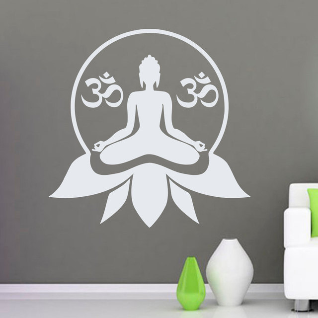Om Sign Wall Decal Lotus Flower Pattern Yoga Studio Wall Stickers - Yoga studio wall decals