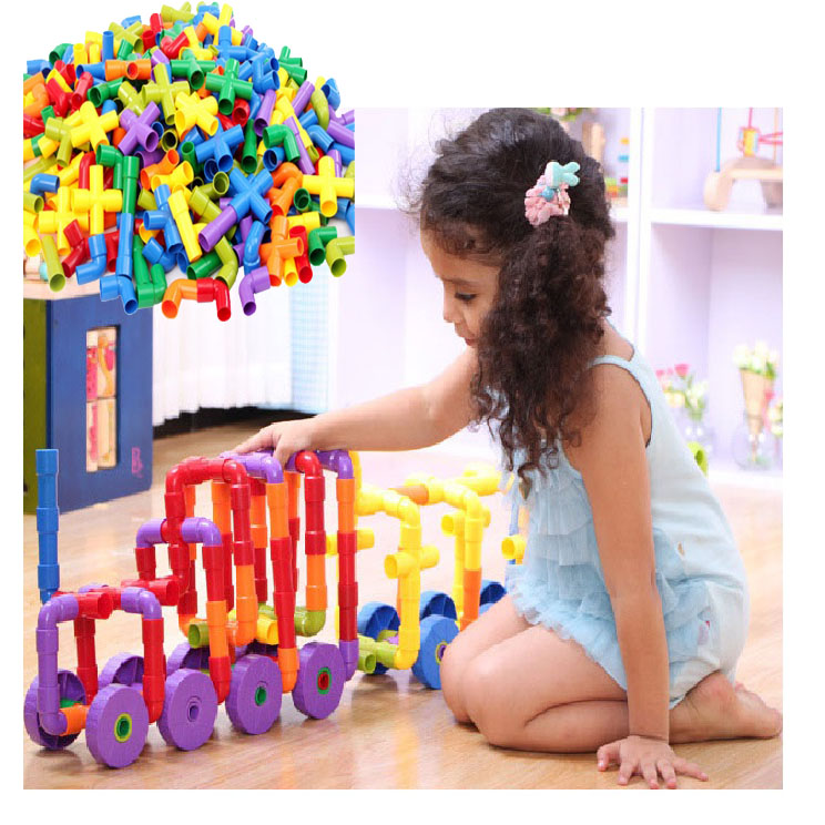 2017 New 72 PCs Children Water Pipe Colorful Self Locking Bricks Plug Match Building Blocks Tunnel Plastic Kids Educational Toys 100pcd pack children snowflake match building blocks colorful self locking bricks 3 5cm big plastic blocks kids educational toys