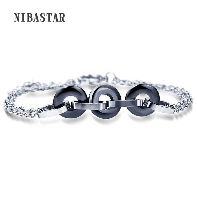 Fashion Black /White Ceramic Charm Bracelets For Women Circle Round Bracelets & Bangles Pulseras Jewelry Accessories