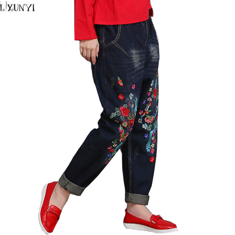 ФОТО Vintage Embroidery jeans For Women Spring High Quality High Waisted Womens Wide Leg jeans Plus Size Loose Thin Denim Pants 38 40