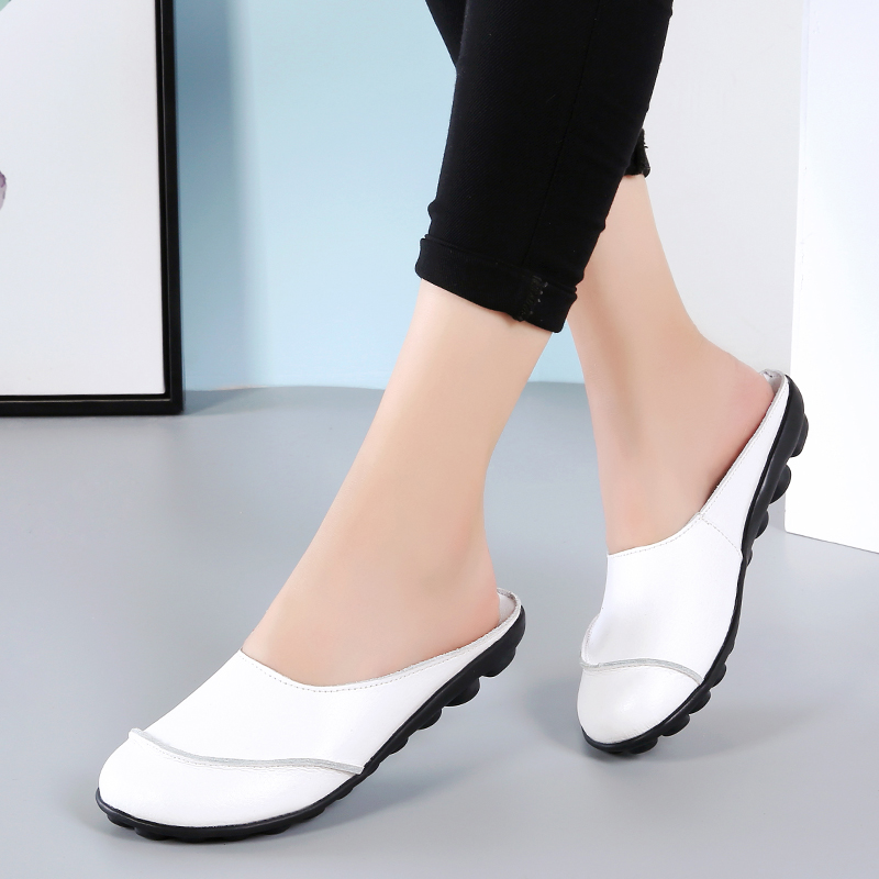 Plardin Ballet Verão Mulheres Genuína Mulher Sapatos de Couro Musculares Vaca Plana Enfermeira Flexível macio Ervilhas Loafer Flats flip flops mulheres