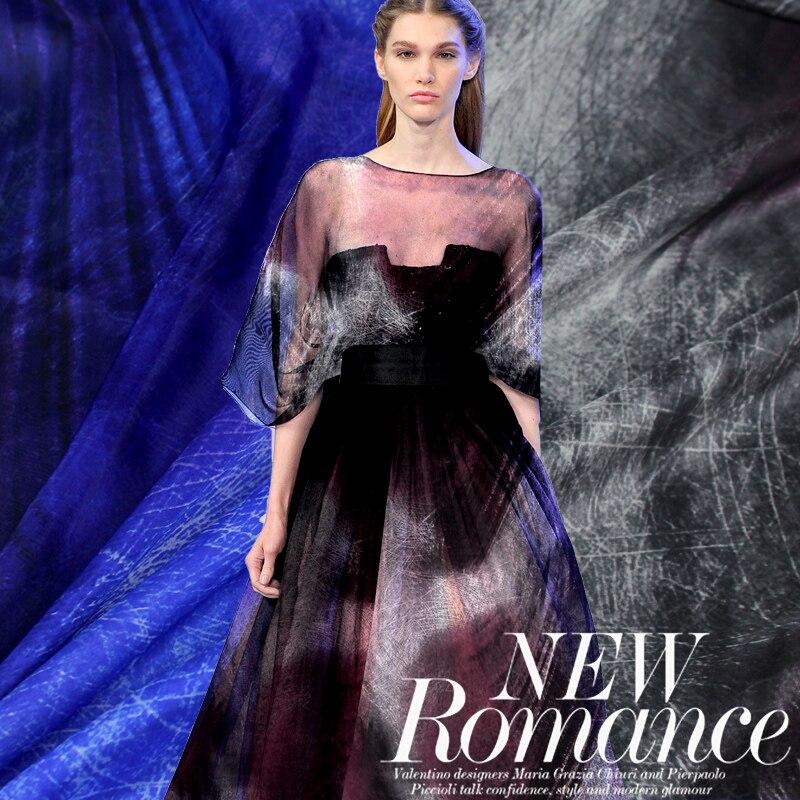 Nouveau 2019 français dentelle tissu pour coudre gris imprimé mousseline de soie tissu tissé matériel pour écharpe Tulle Blouse robe en soie tissu Textile